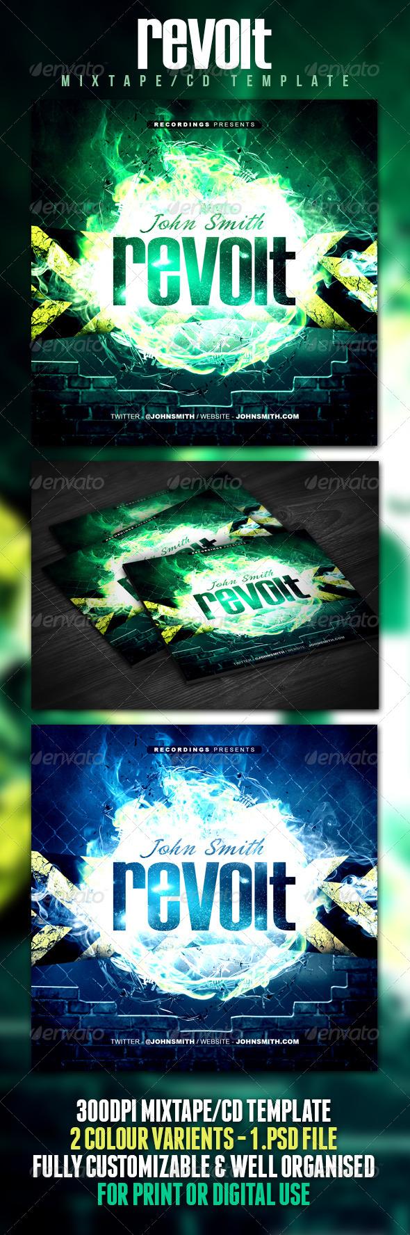 GraphicRiver Revolt Mixtape CD Template 4852910