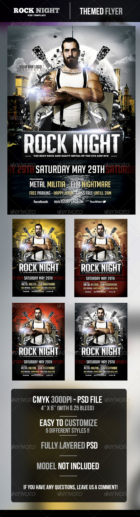 GraphicRiver Rock Night Flyer Template 4912675