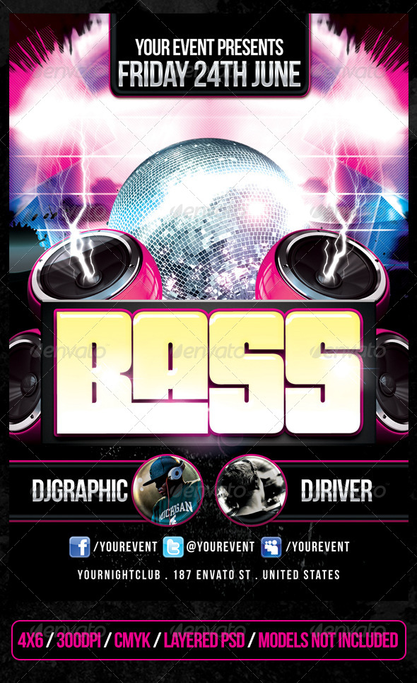 Bass Club Flyer - Clubs & Parties Events