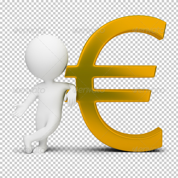 3D small people euro sign