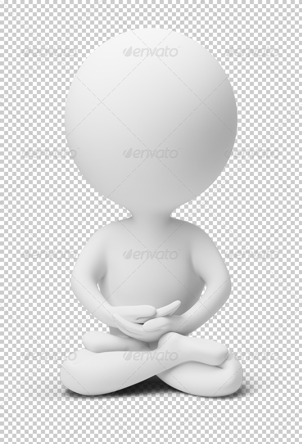 3D small people meditation