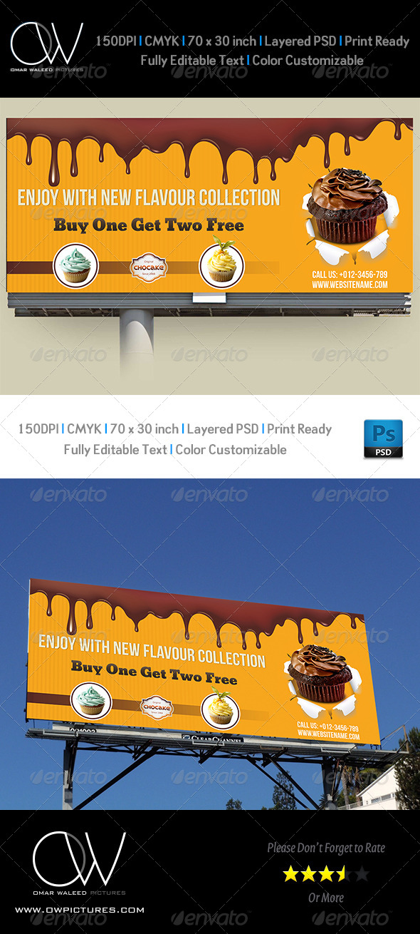 Cake Billboard Template Vol.2 - Signage Print Templates