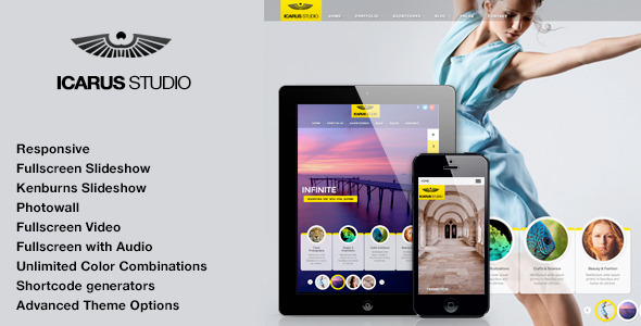 ThemeForest iCarus Fullscreen Studio for WordPress 4913543