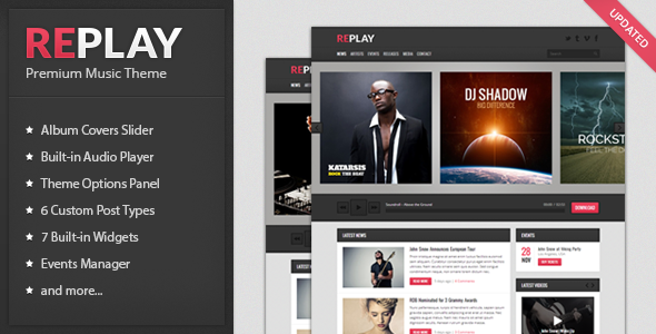 Replay - Responsive Music WordPress Theme - Entertainment WordPress