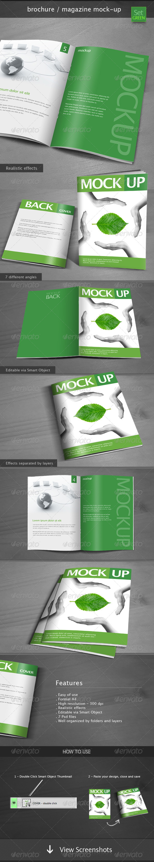 GraphicRiver Brochure Magazine Mock-up Set Green 4914063
