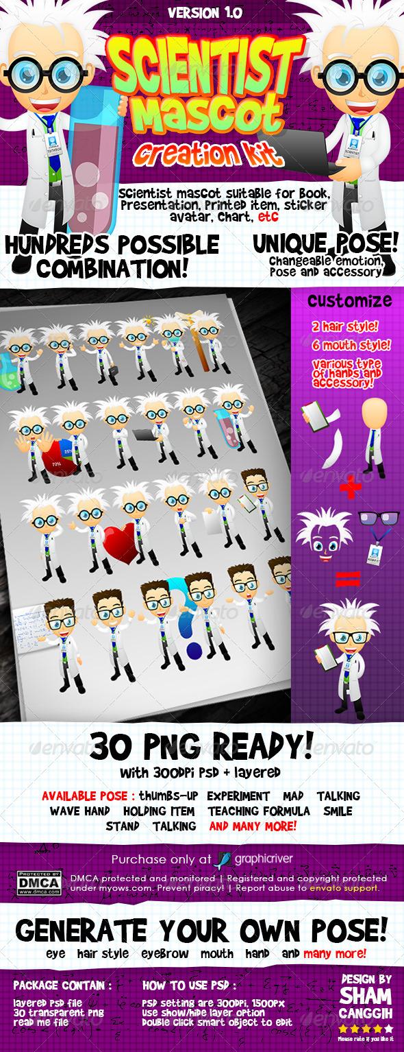 Scientist Mascot - Characters Illustrations