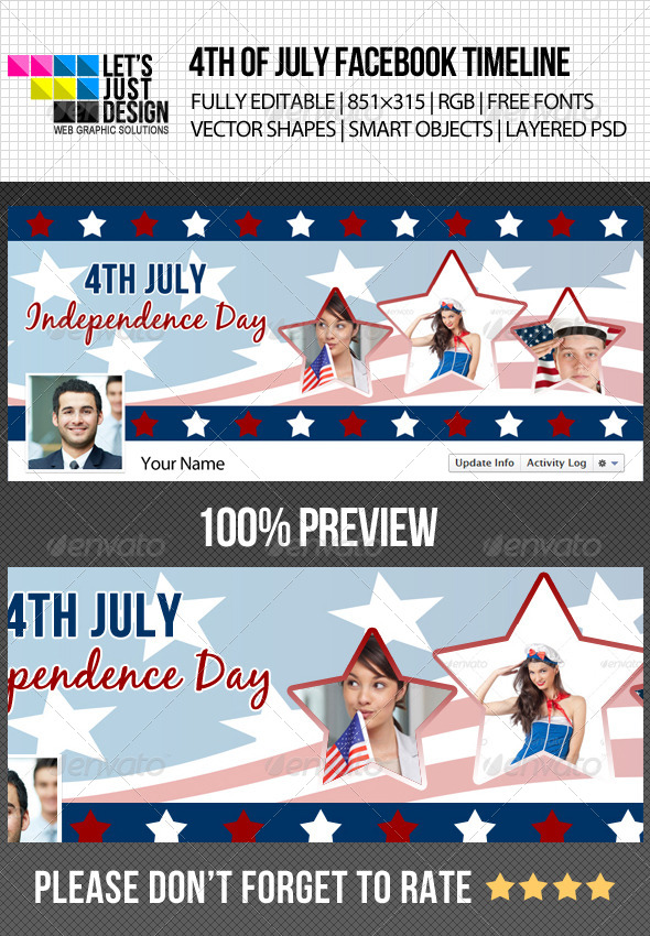 GraphicRiver 4th of July Independence Day Timeline Cover 4914479