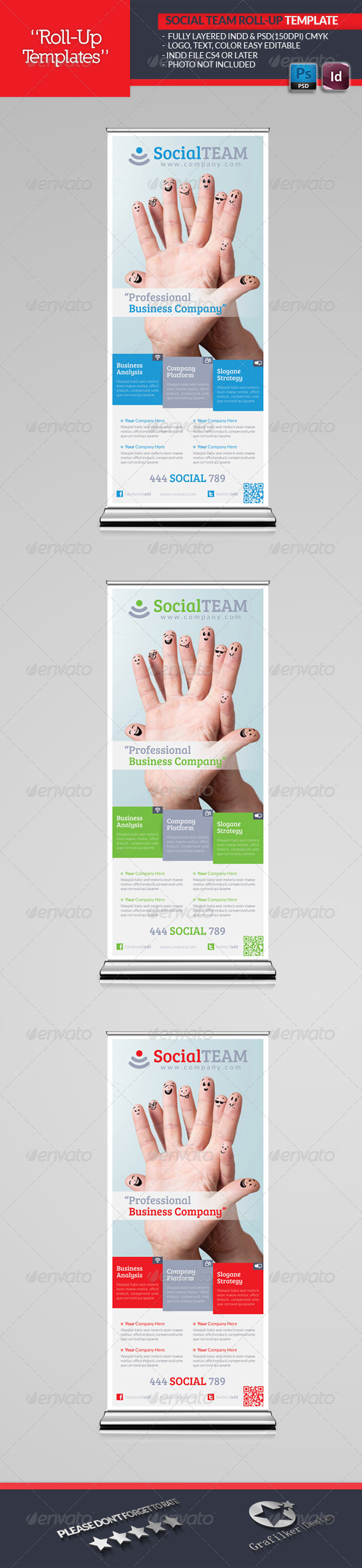 GraphicRiver Social Team Roll-Up Template 4914996