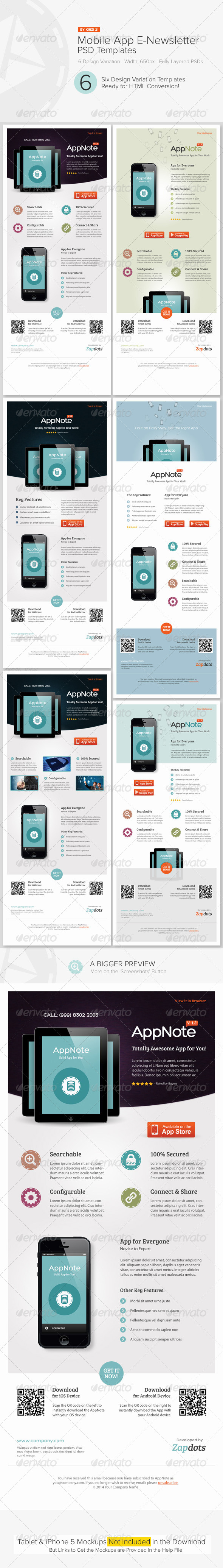 GraphicRiver Mobile App E-Newsletter PSD Templates 4915002