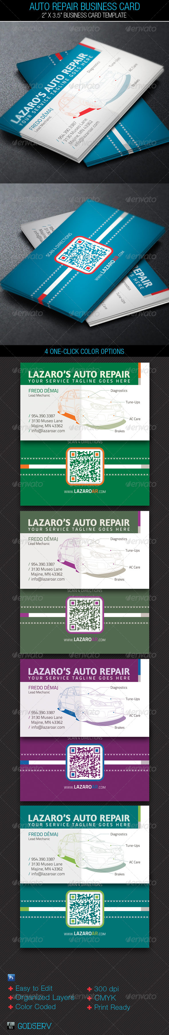 Auto Repair Service Business Card Template - Industry Specific Business Cards