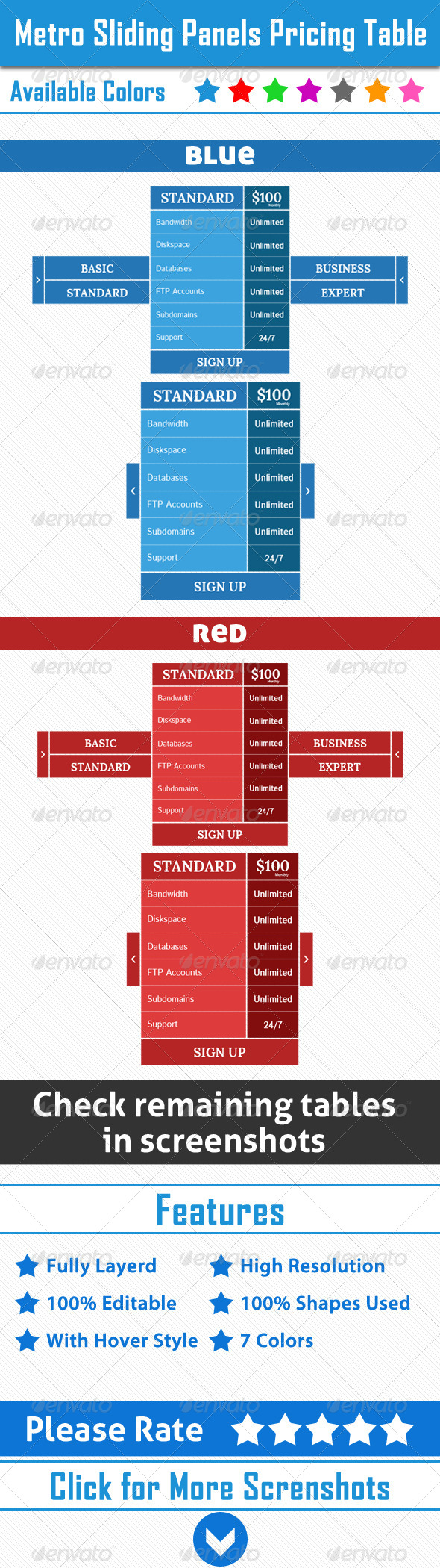 GraphicRiver Metro Sliding Panels Pricing Table 4839551