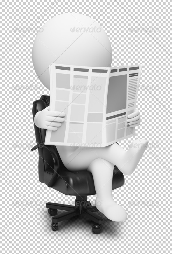 3D small people newspaper