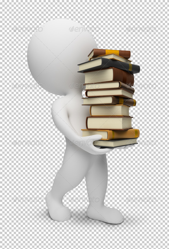 3D small people carrying the books