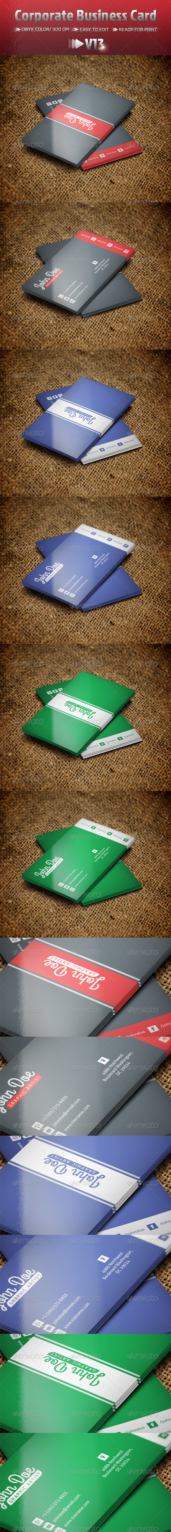 Corporate Business Card V13 - Business Cards Print Templates