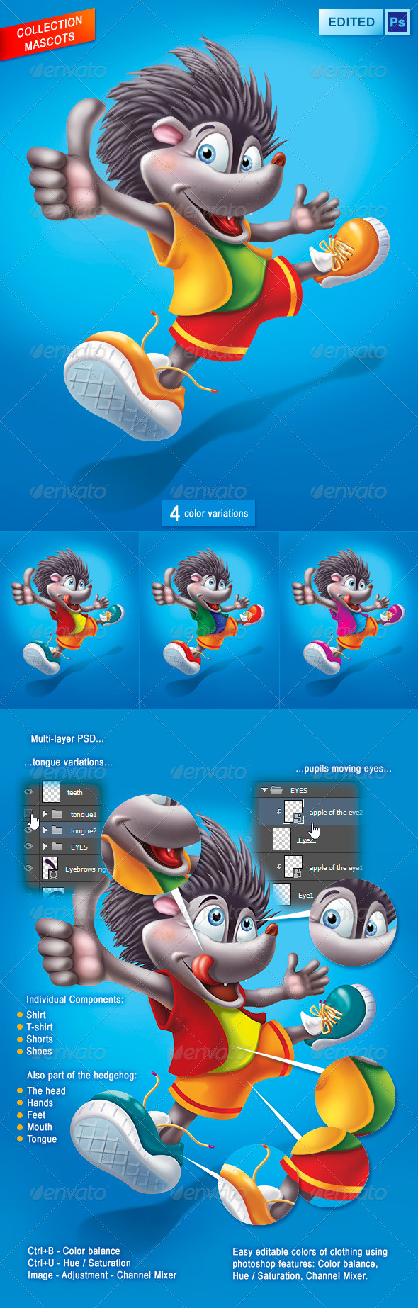 GraphicRiver Hedgehog Mascot 4772446