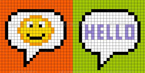 GraphicRiver 8-Bit Pixel-Art Online Messaging Bubbles 4916534