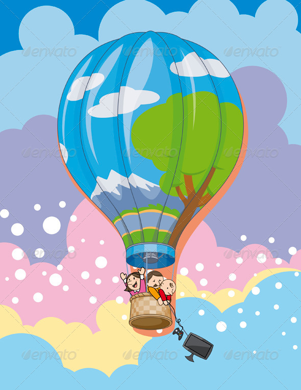 GraphicRiver Family in Balloon 4880758