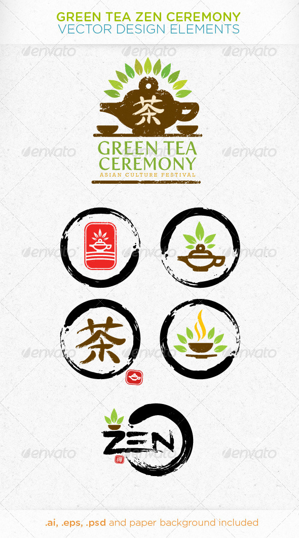GraphicRiver Green Tea Zen Ceremony Vector Design Elements 4906596