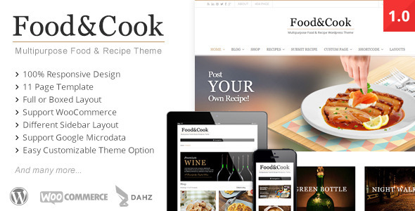 ThemeForest Food & Cook Multipurpose Food Recipe WP Theme 4915630