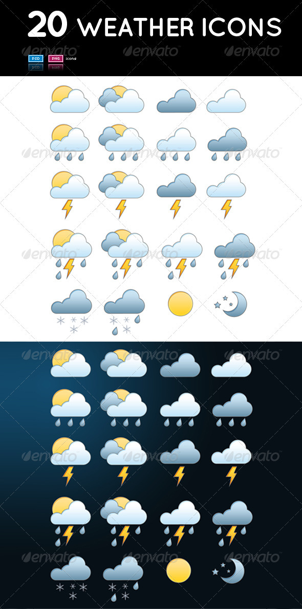 Set of 20 Weather Icons