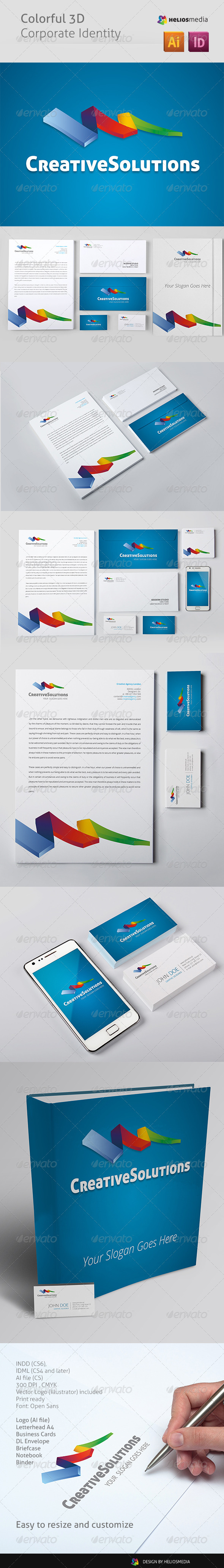 Colorful 3D Corporate Identity - Stationery Print Templates