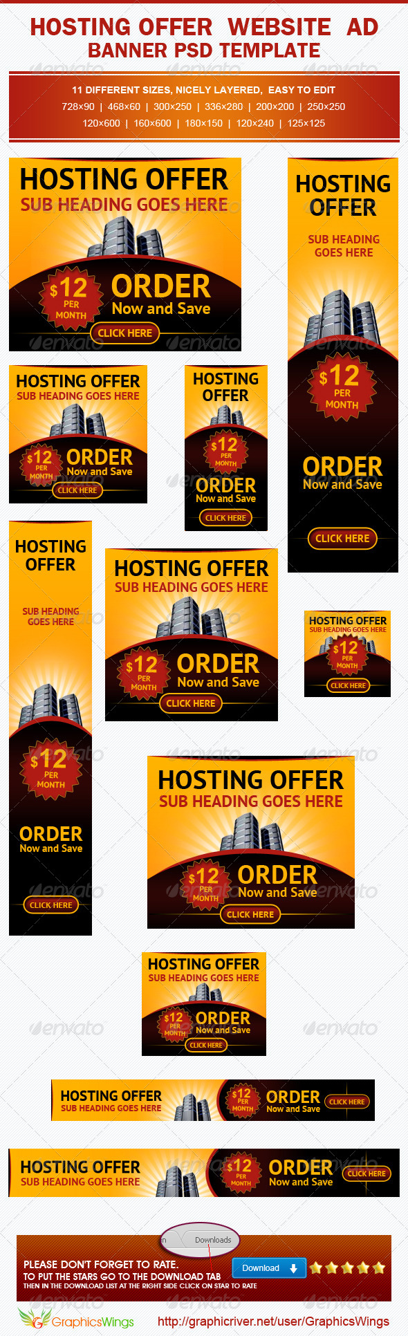 GraphicRiver Hosting Offer Banner Ad Template 4917281