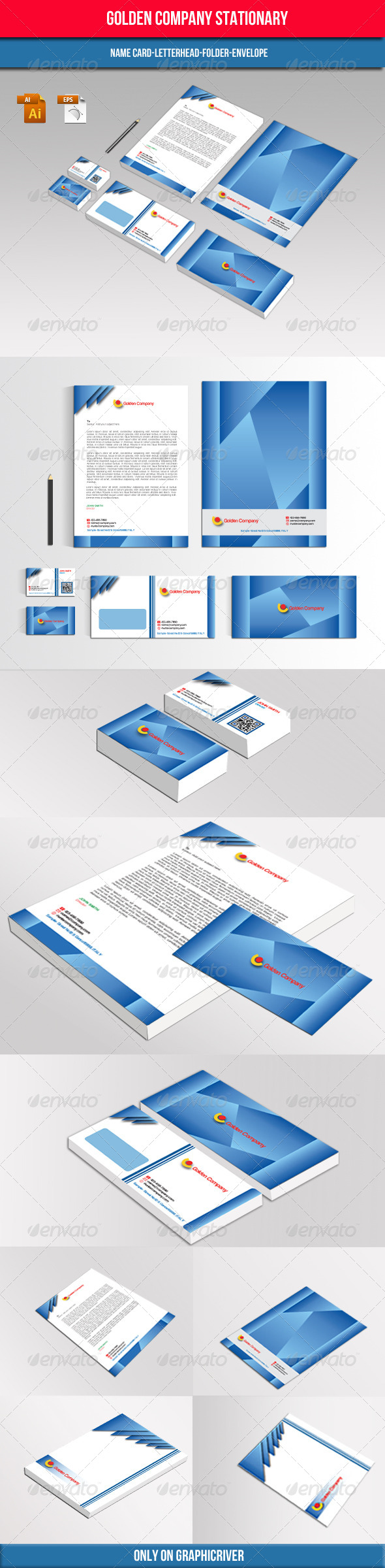 GraphicRiver Golden Company Stationary 4749039