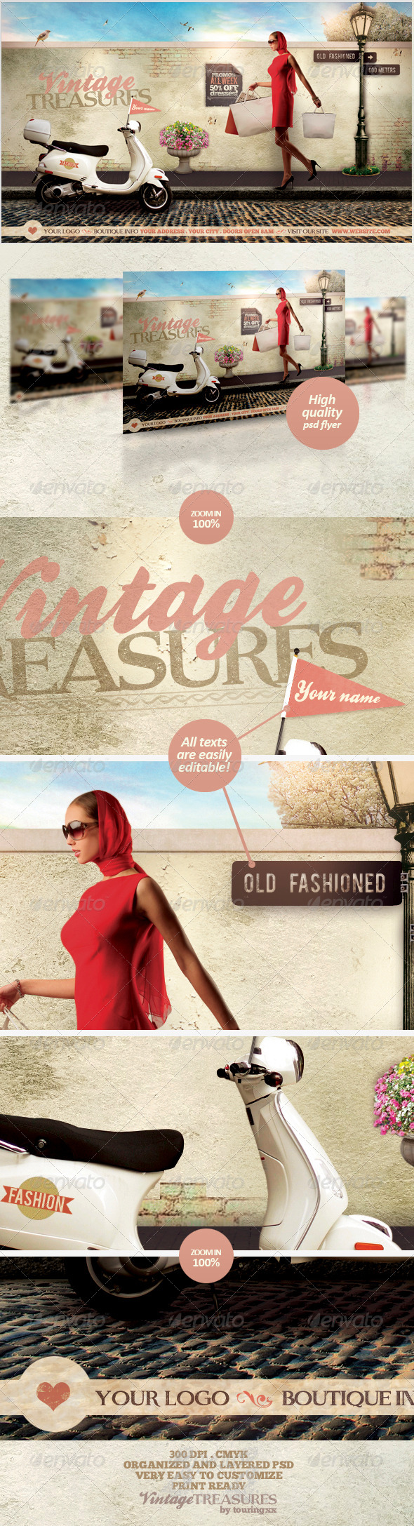 Vintage Treasures Flyer Template - Flyers Print Templates