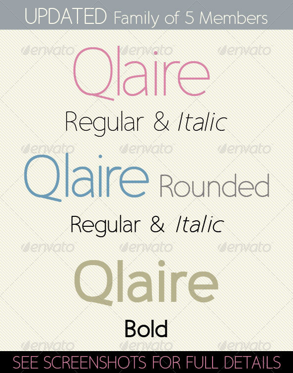 GraphicRiver Qlaire; Clean Modern Fresh Font Family 4918135