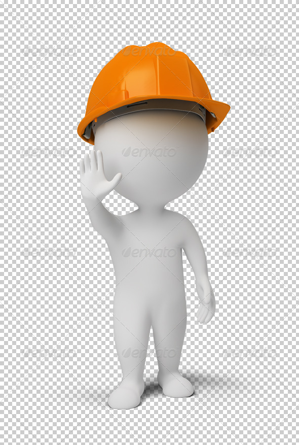 GraphicRiver 3D small people worker at a stop pose 4918474