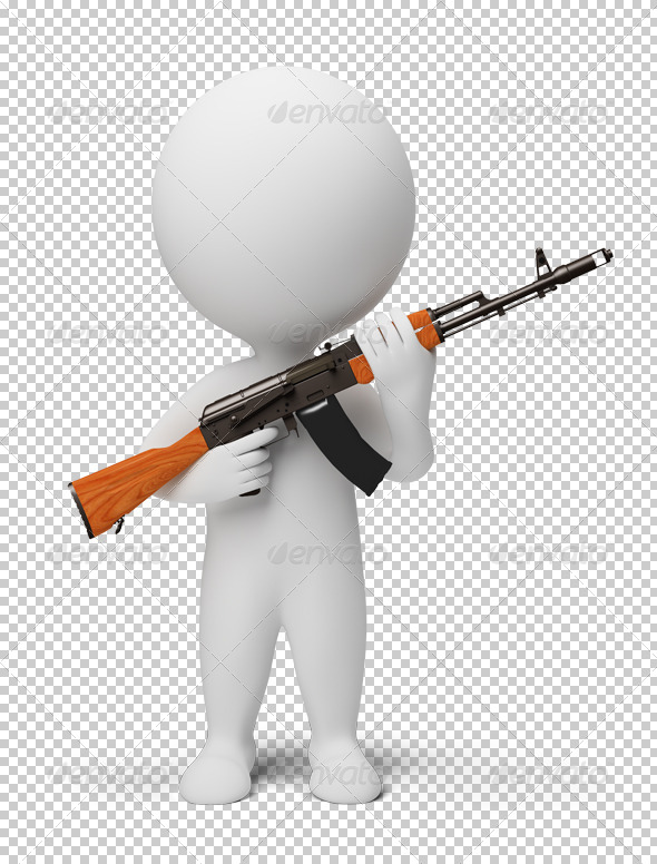 GraphicRiver 3D small people soldier with ak74 4918488