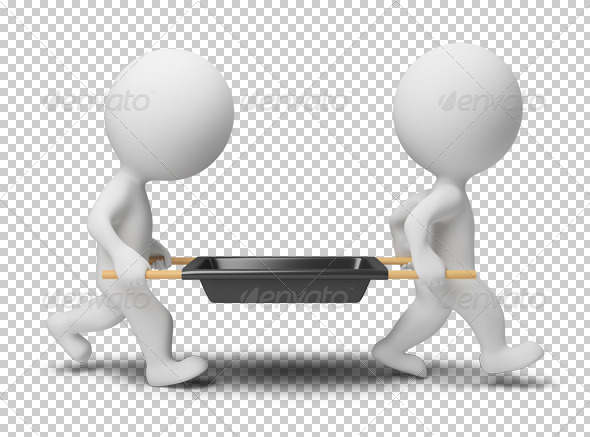 GraphicRiver 3D small people workers with a stretcher 4918497