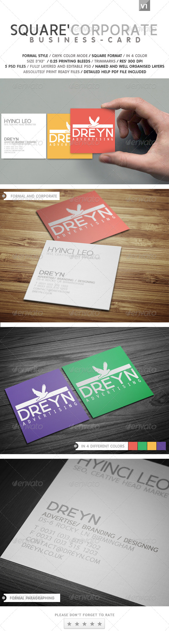 GraphicRiver Square Corporate Business Card 4918908