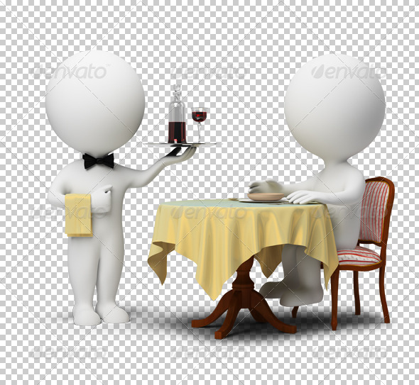 GraphicRiver 3D small people waiter and client 4919027