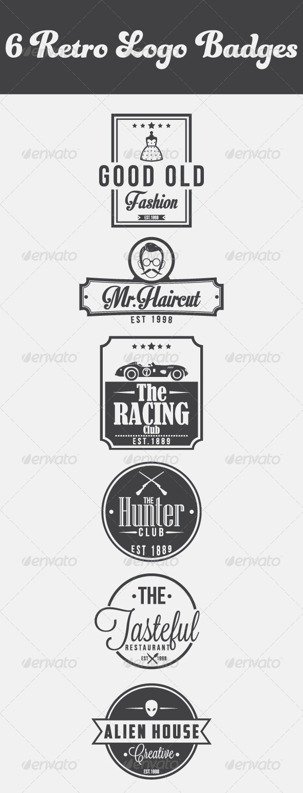GraphicRiver 6 Retro Logo Vintage 4918143