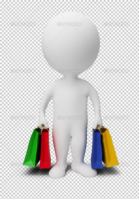 GraphicRiver 3D small people carry shopping bags 4921631