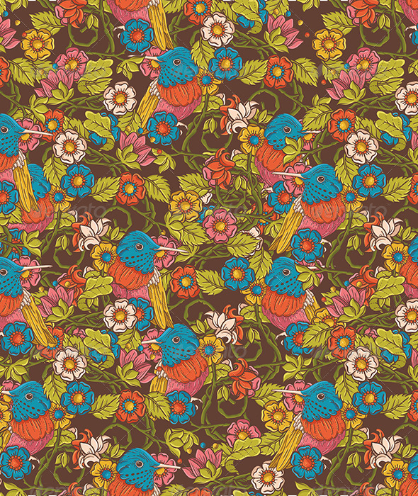 GraphicRiver Vintage Floral Seamless Pattern with Humming Bird 4921636