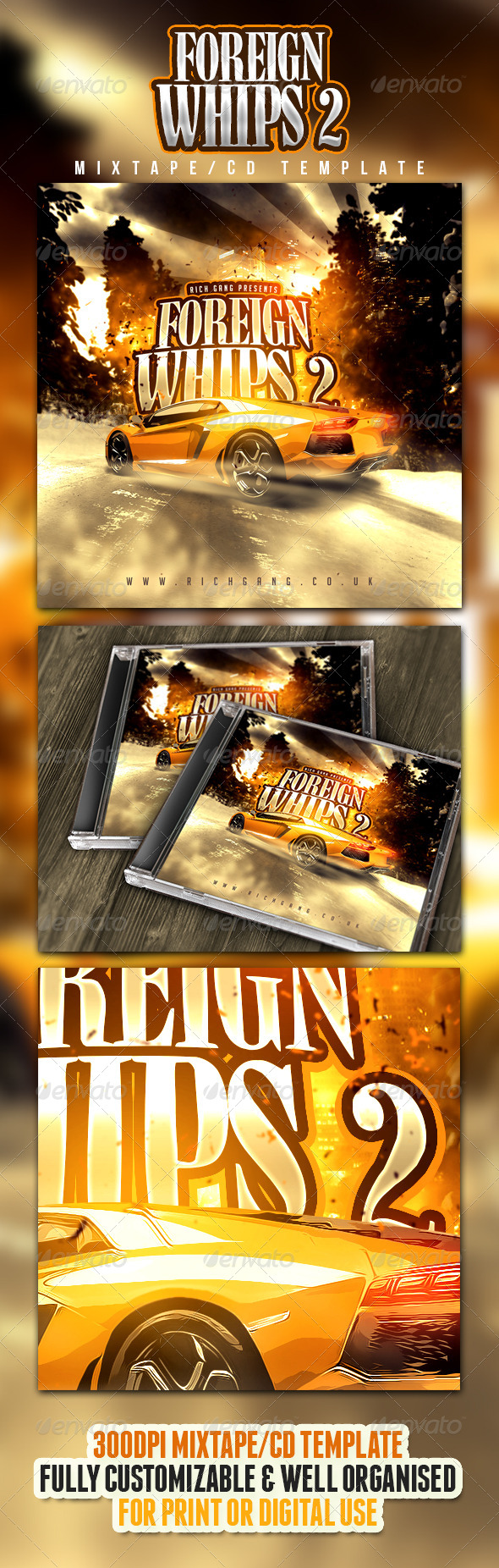 Rich Gang Hip Hop / Rap Mixtape CD Cover - CD & DVD artwork Print Templates