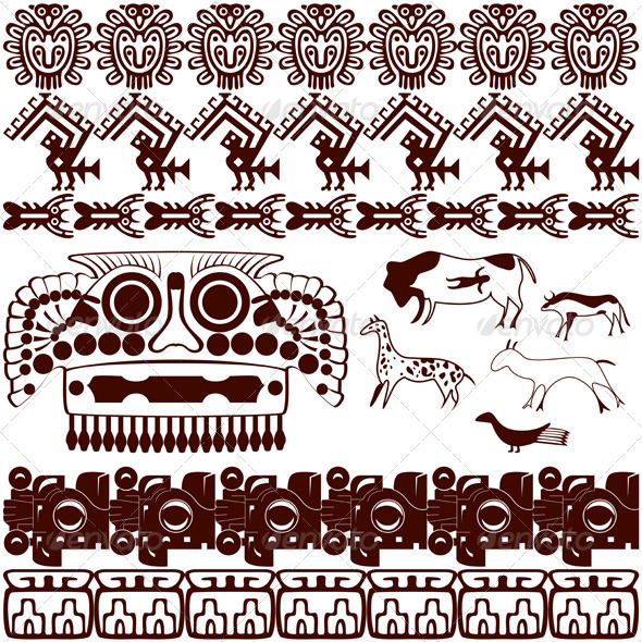 GraphicRiver Set of Ancient American Ornaments 4922779