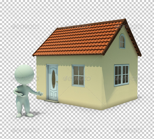 GraphicRiver 3D small people show a home 4923009