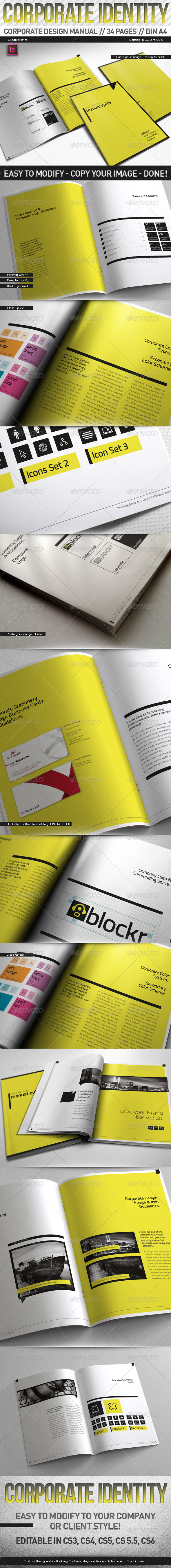 GraphicRiver Corporate Design Manual Guide DIN A4 34 Pages 4923120