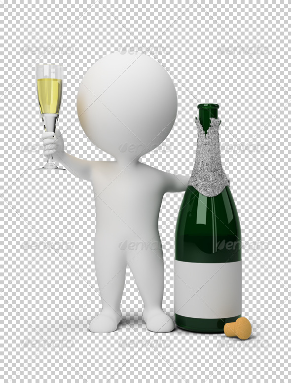 3D small people champagne
