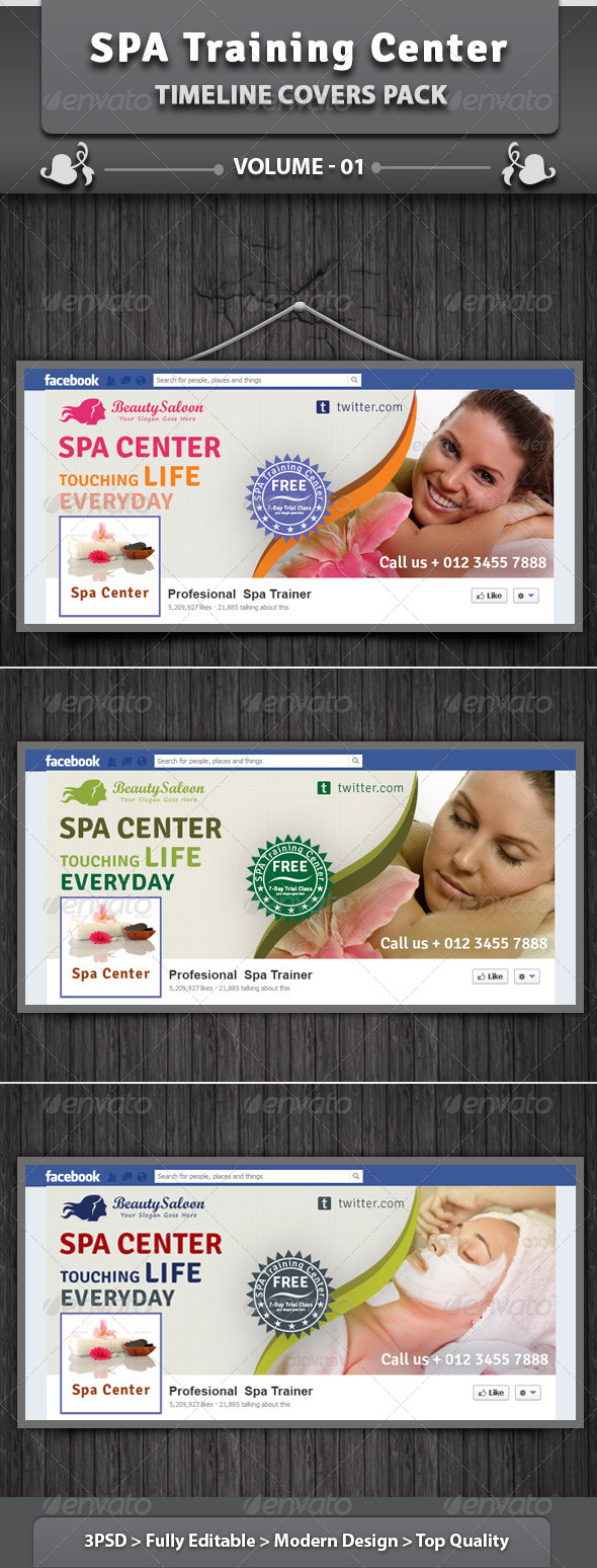 GraphicRiver SPA Training Center Facebook Timeline Covers Pack 4923670