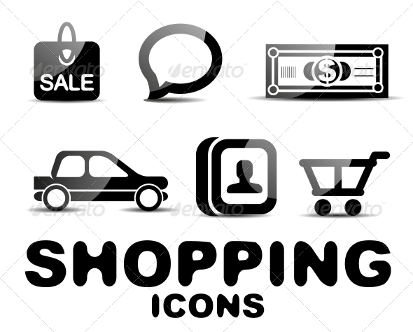GraphicRiver Black Glossy Shopping Icon Set 4924150