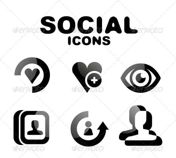 GraphicRiver Black Glossy Social Icon Set 4924151