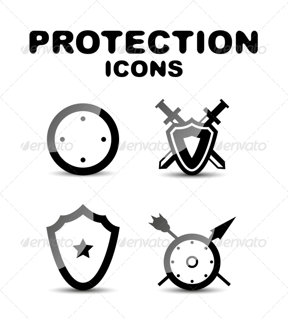 GraphicRiver Black Glossy Protection Icon Set 4924243