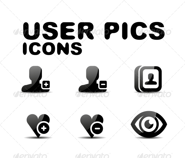 GraphicRiver User Black Glossy Icon Set Vector Illustration 4924403