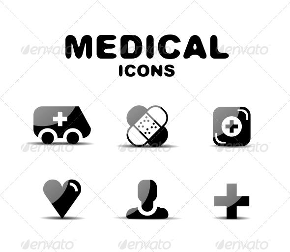 GraphicRiver Black Glossy Medical Icon Set 4924429