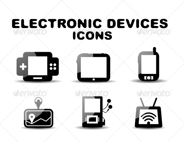 GraphicRiver Black Glossy Electronic Devices Icon Set 4924432