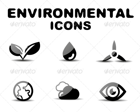 Black Glossy Environmental Icon Set